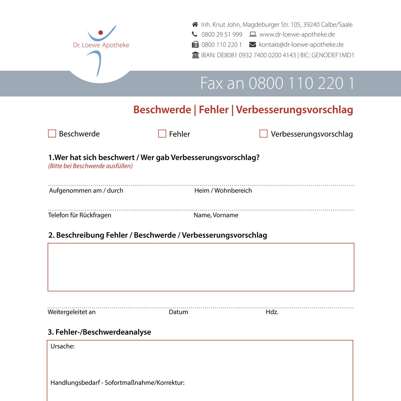 Gestaltung Formulare