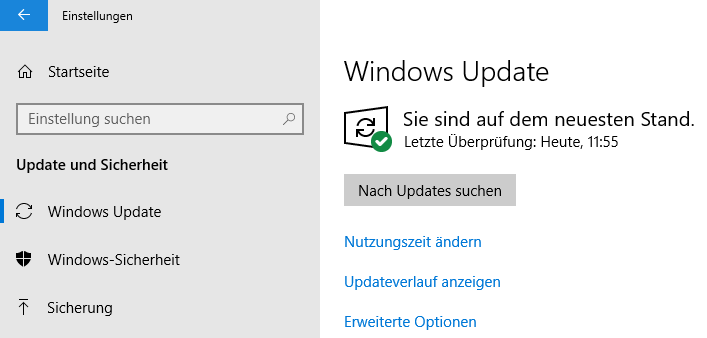 Windows 10: (Windows-)Einstellungen > Update und Sicherheit: Nach Updates suchen