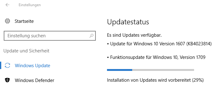 Windows 10: (Windows-)Einstellungen > Update und Sicherheit > Windows Update: Updatestatus