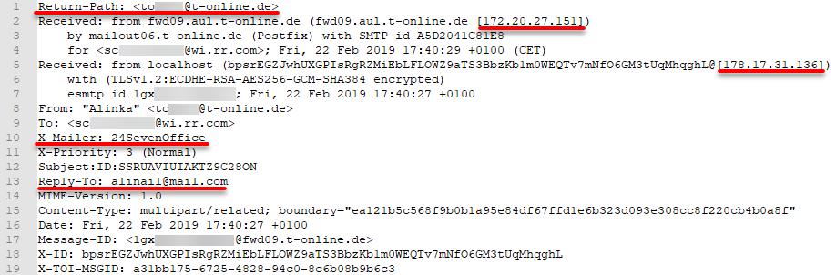 Mail-Header einer manipulierten E-Mail (Mail Spoofing)