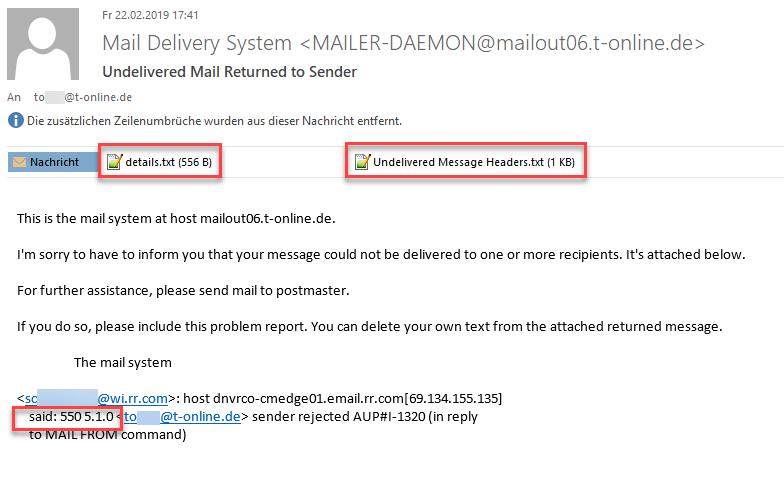 Rückmeldung über die Unzustellbarkeit einer Mail mit weiteren Informationen (T-Online)