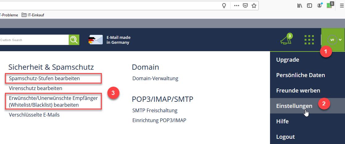 Freenet Spam-Einstellungen